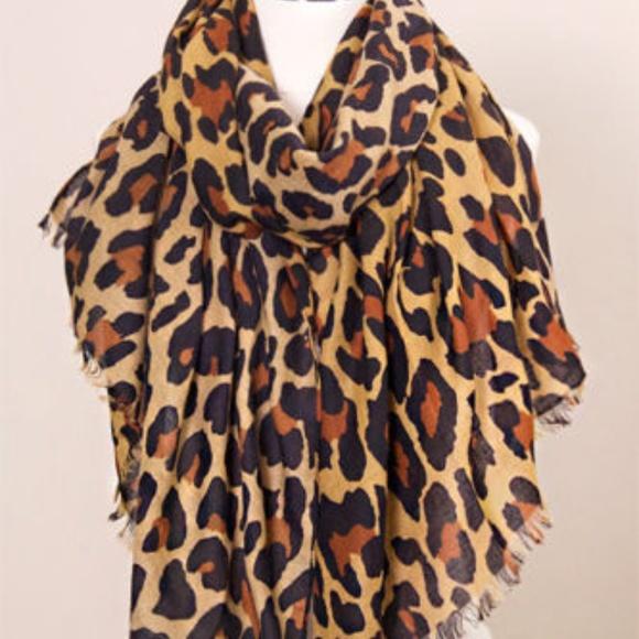 Jinscloset Women/'s Animal Print Leopard Oblong Scarf
